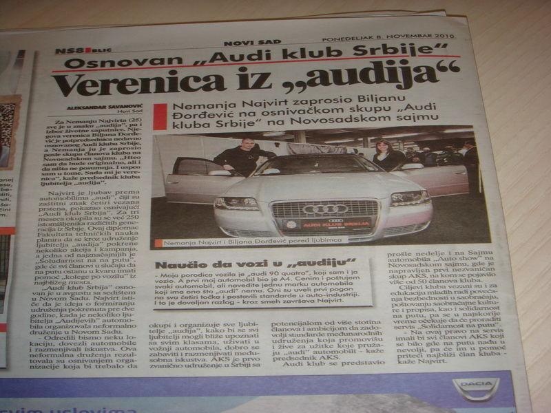 Blic 08 11 2010 Audi Klub Srbija Audi Club Serbia