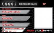 Audi clanska karta - prednja strana
