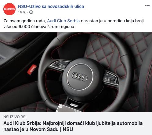 Intervju predsednika Audi kluba Srbije za portal NS Uživo